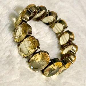 Vintage Citrine Colored Cut Glass Bracelet